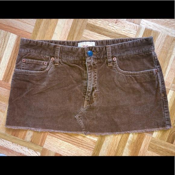 Hollister Brown Mini Skirt w/pockets 100% Cotton